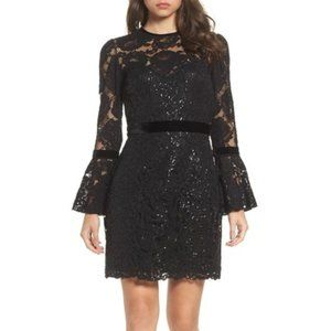 Tadashi Shoji Bell Sleeve Rose & Sequin Lace Dress